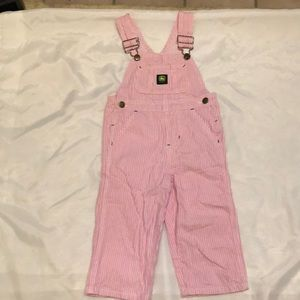 Girls Pink and white 2t John Deere overalls